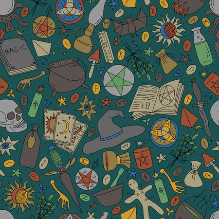 Seamless pattern with multi-colored objects for magic on a green background Stock Illustratie