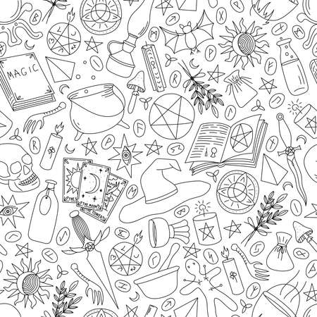 Seamless pattern objects for magic on a white background Stock Illustratie