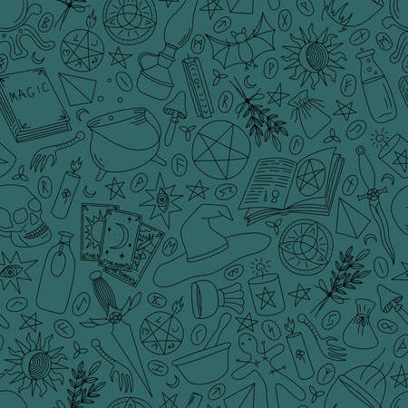 Seamless pattern with magic items on a emerald background