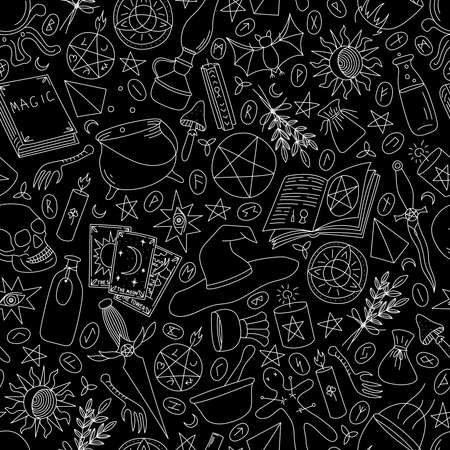 Seamless pattern with magic items on a black background
