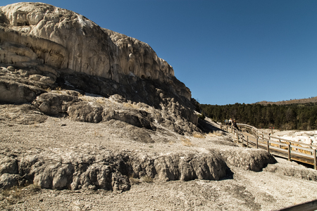 Travertine terrace at Mammoth Hot Springs in Yellowstone National Park, Wyoming, USA
