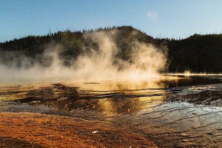 View of the Grand Prismatic Spring at Yellowstone National park, WY, USA