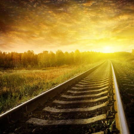 Railway at sunset.  photo