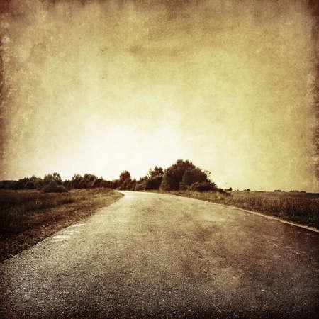 vintage: Grunge beeld van landweg. Stockfoto
