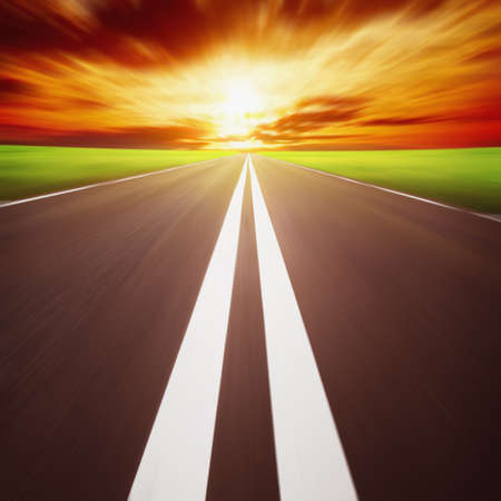 Road with motion blur at sunset  Stock Photo