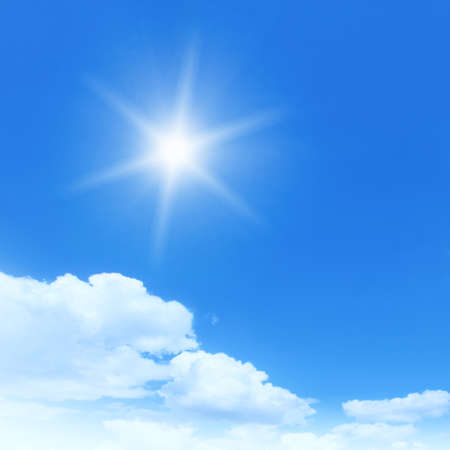 Bright sun in blue sky  photo