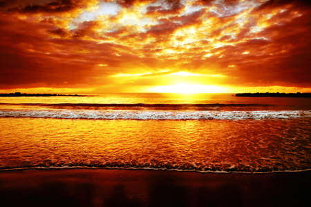 Bright colorful sunset on the ocean  photo