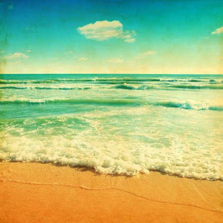 Retro image of sandy beach