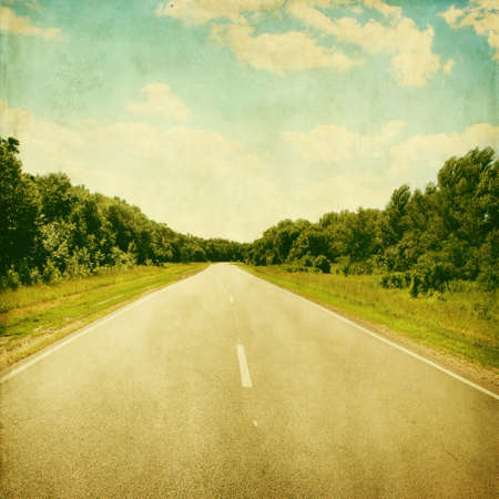 Empty asphalt road in grunge and retro style  photo