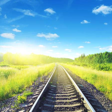 railway points: Railway on sunny summer day   Stock Photo
