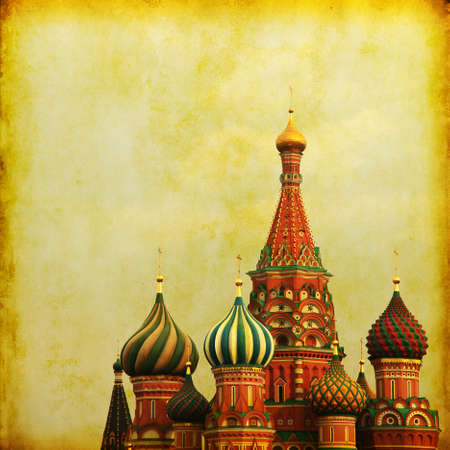 Retro image of Saint Basil s Cathedral, at Red Square, Moscow, Russia   photo