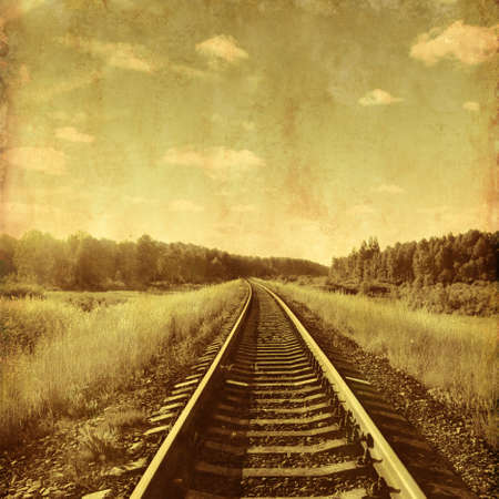 railway history: Vintage image of landscape with a railway. Stock Photo