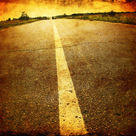 tar paper: Empty asphalt road in grunge and retro style  Stock Photo