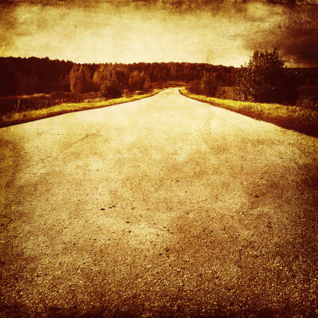 old fashioned sepia: Photo of empty road Grunge and retro style  Stock Photo