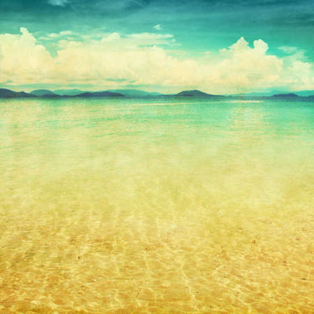 tropical climate: View of the sea in grunge and retro style