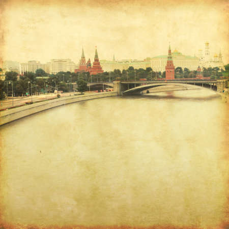 View of Moscow Kremlin in reto and grunge style  photo