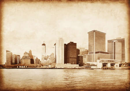 Lower Manhattan in New York Old style photo Stock Photo - 21574060
