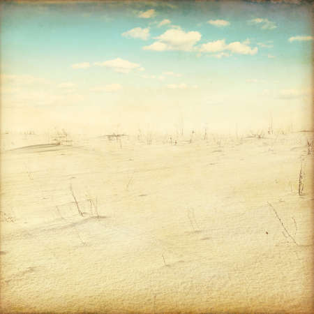Winter landscape in grunge and retro style  photo