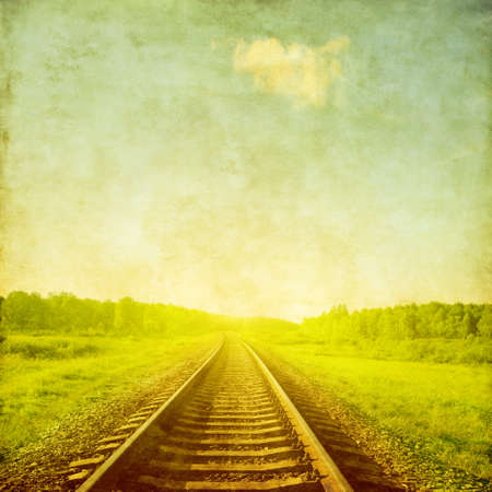 railway history: Railroad in grunge and retro style