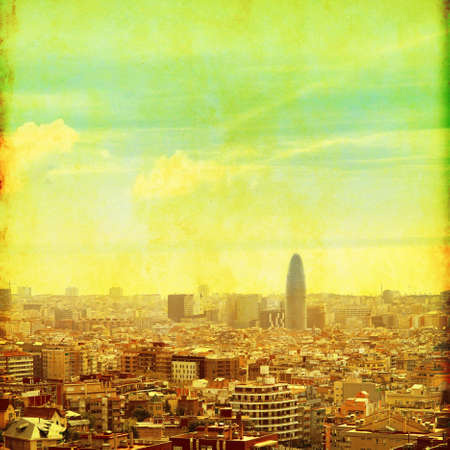 Barcelona cityscape in grunge and retro style Stock Photo - 21574168