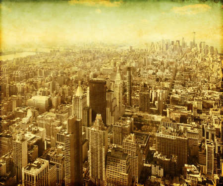 New York City Manhattan aerial view in grunge and retro style Stock Photo - 21574615