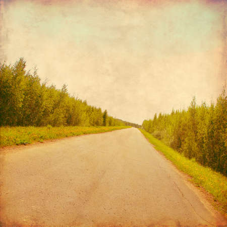 'retro styled': Rural road through the forest in grunge and retro style