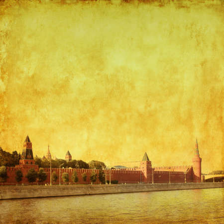 Kremlin and Moscow river in grunge and retro style  photo