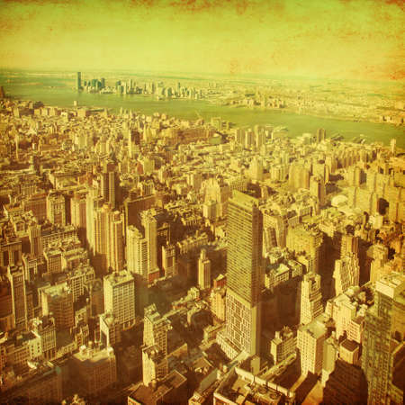 New York City Manhattan aerial view.Grunge and retro style. Stock Photo - 21847410
