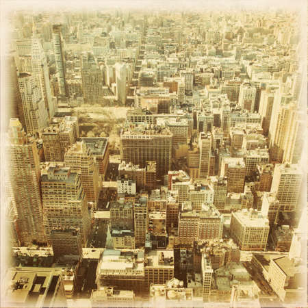 city square: New York City Manhattan aerial view.Grunge and retro style.