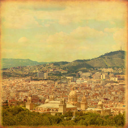 Old style image of Barcelona cityscape.  Stock Photo - 21911287