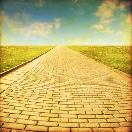 Stone pathway in the field.Grunge and retro style. 免版税图像