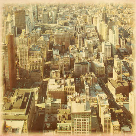 New York City Manhattan aerial view in grunge and retro style. photo