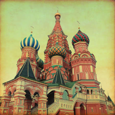 Saint Basil's Cathedral,Red Square, Moscow, Russia. Retro and grunge style.  Stock Photo - 21911308