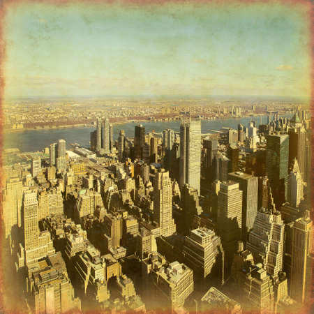 New York City Manhattan aerial view in grunge and retro style. Stock Photo - 21911312