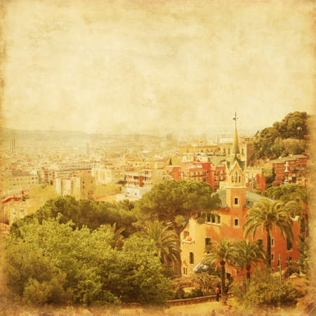 mediterranean houses: View of Barcelona from Park Guell. Grunge and retro style.
