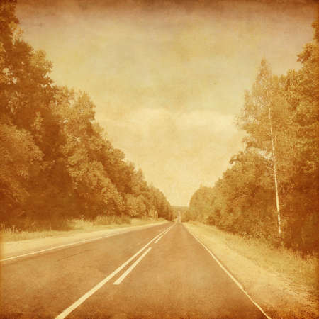 tar paper: Empty asphalt road in grunge and retro style.