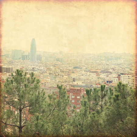 Barcelona cityscape in grunge and retro style.