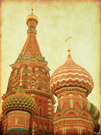 Saint Basils Cathedral,Red Square, Moscow, Russia. Close-up. Retro and grunge style. Stock Photo