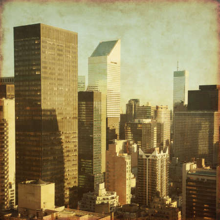 Skyscrapers in New York City in grunge and retro style Stock Photo - 22087987