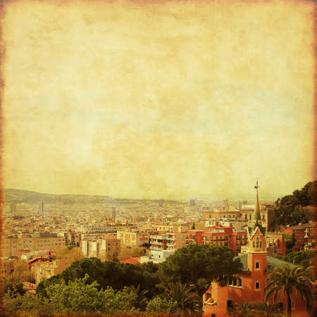 View of Barcelona from Park Guell in grunge and retro style.   photo