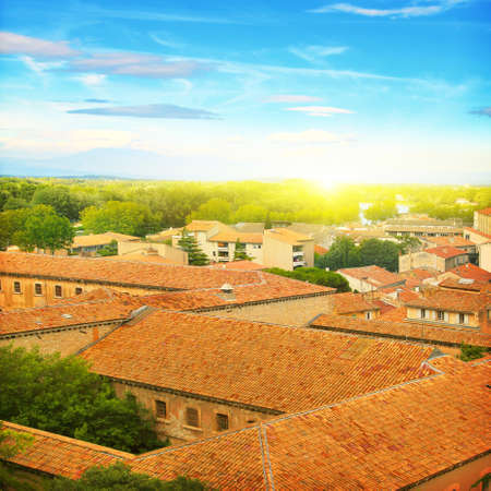 non cultivated: Roofs of houses in Provence at sunset
