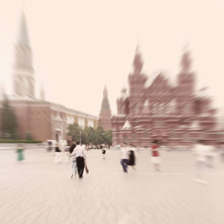 Tourists walking on Red square Moscow, Russia  Motion blur image   photo