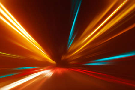Abstract image of speed motion on the road at night time  Stock Photo