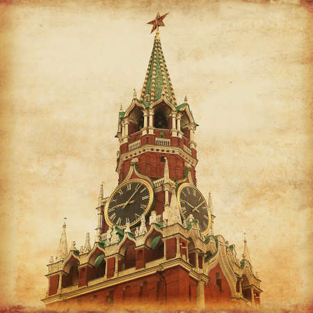 Spasskaya tower of Kremlin on the Red Square in Moscow Old style photo Stock Photo - 22088008