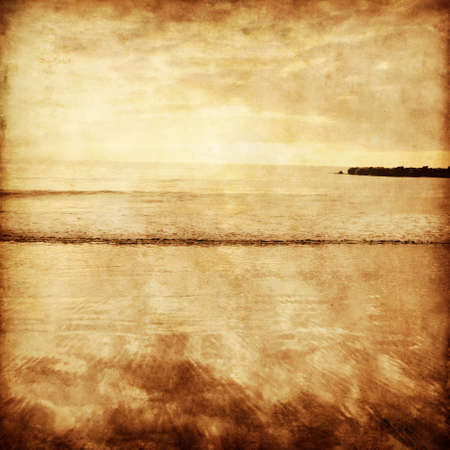 Sunset seascape in grunge and retro style  photo