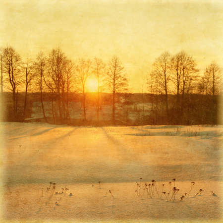 Winter sunset in grunge and retro style