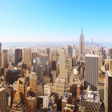 city  buildings: Image of New York city Aerial view  Stock Photo