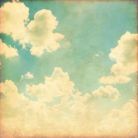 rural skyline: Blue sky with clouds in grunge style. Stock Photo