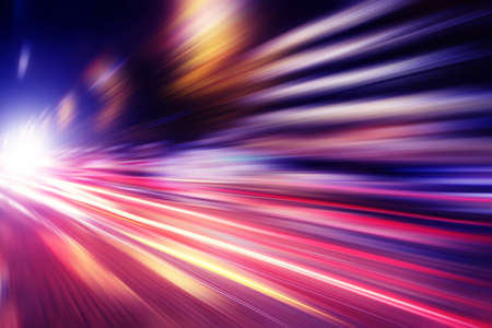 Abstract image of speed motion in the city at twilight.
