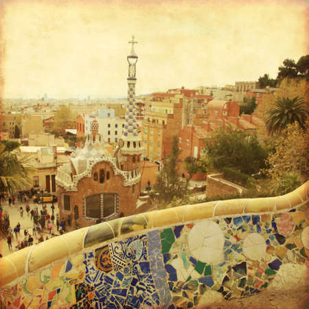 guell: View of Barcelona from Park Guell  Grunge and retro style